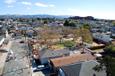A birds eye view of Pogo Park's Elm Playlot and its surrounding Richmond, California community. Photo by Pogo Park.