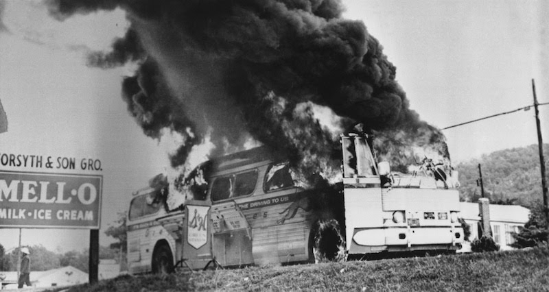 2 27 Joseph Postiglione. Firebombed bus outside Anniston Alabama. 1961
