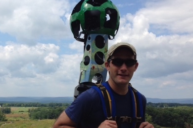 Kyle Shenk wearing the Google Trekker. Photo by Kelly Ingebritson.