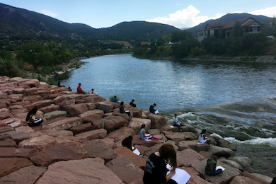 Sixth grade science students observing the Colorado River. Photo by Autumn Rivera.