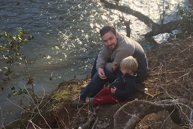 Trevor Cutsinger and his son enjoying the outdoors.