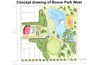 A concept drawing of Boone Park West—the final design will be determined through a community visioning process. Courtesy of Park Pride