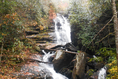 Scenic waterfall in North Carolina