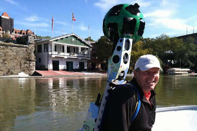 Erik Meyers with the Google Trekker on the Captain John Smith Chesapeake National Historic Trail.
