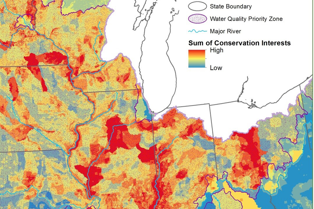 Map of conservation interests for the Mississippi River Basin/ Gulf Hypoxia Initiative