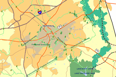 Segment of map showing potential parks and greenways in Spartanburg. Image by The Conservation Fund